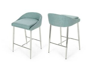 Bandini Modern Upholstered Counter Stools with Chrome legs  Set of 2  by Christopher Knight Home  Retail 188 99