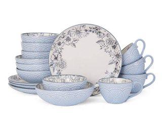 Pfaltzgraff Gabriela Gray Stoneware 16 Piece Dinnerware Set  Retail 76 48