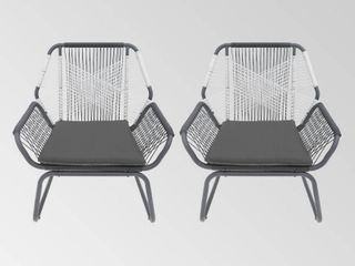 Milan Outdoor Faux Rattan Club Chair  Set of 2  by Christopher Knight Home   Retail 277 49
