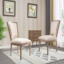 Padded linen Fabric Upholstered Wood Parsons Dining Chairs  Set of 2    19 69 W x22 64 D x38 58 H   19 69 W x22 64 D x38 58 H  Retail 284 49