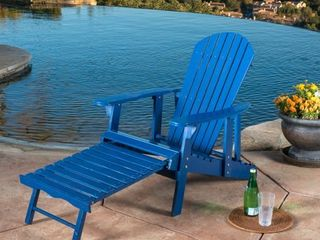 Hayle Outdoor Reclining Wood Adirondack Chair with Footrest by Christopher Knight Home  Retail 191 99