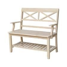 unfinished solid parawood double x back bench