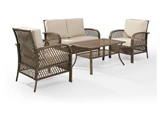 Tribeca 4 Piece Outdoor Wicker Seating Set with Sand Cushions  Retail 671 99