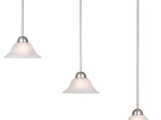 Da Vinci 3l Brushed Nickel linear Chandelier Island Pendant light Fixture   39 75 in W x 16 63 in H x 9 75 in D  Retail 166 00