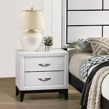 Stout Contemporary 2 Drawer Metal Bar Pulls Wood Nightstand  White  Retail 136 49