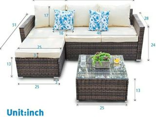 Patio Furniture 3 Piece Sectional Sofa   Resin Wicker  Beige  Retail 428 99