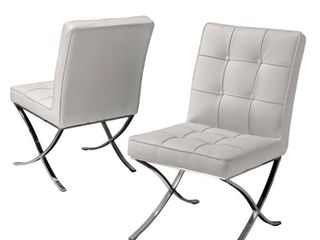 Milania Modern Button Tufted Bonded leather Dining Chairs  Set of 2  by Christopher Knight Home  Retail 241 49