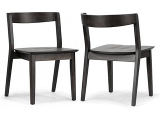 Set of 2 Astor Black Solid Wood Chair with Curved Back  Retail 189 99 SlIGHT SCRATCHES