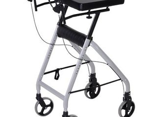 HOMCOM Aluminum Rollator Walker For Seniors  Get Outside with 4 large Wheels  Brakes  and Foldable Design  Heavy Duty  Retail 226 99