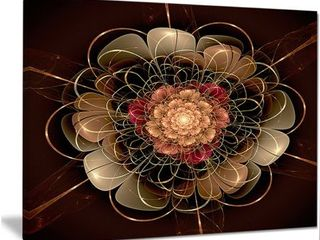 Designart  Dark Gold Red Fractal Flower Pattern  Extra large Floral Wall Art   Gold Red  Retail 97 99