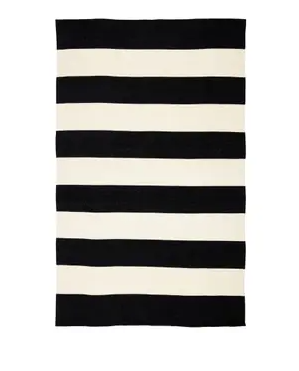 Porch   Den Pamlico Black and Ivory Stripe Indoor Outdoor Area Rug