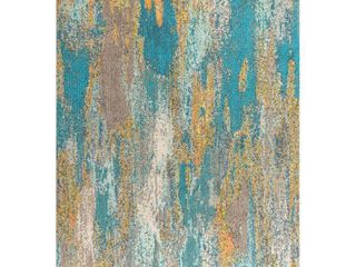 JONATHAN Y Contemporary POP Modern Abstract Vintage Waterfall Blue Brown Orange 8 ft  x 10 ft  Area Rug   7 9  X 10