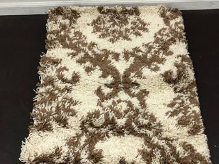Persian Rugs Shaggy Floral Pattern Accent Cream Beige