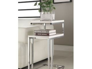 White Finish Chrome Side End Snack Table  Retail 78 48