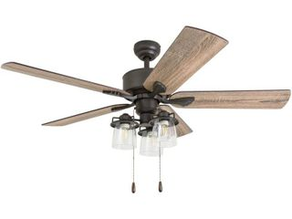 Prominence Home 50566 35 River Run Farmhouse 52 Inch Aged Bronze Indoor Ceiling Fan  Multi Arm lED 3 light Barnwood Tumbleweed Blades MISSING GlASS GlOBES