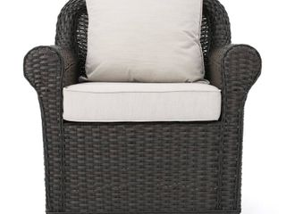 Amaya Outdoor Wicker Swivel Rocking Chair with Cushion by Christopher Knight Home  Retail 417 99