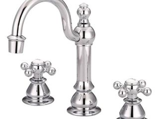 American 20th Century Classic Widespread lavatory F2 0012 Faucets with Pop Up Drain in Chrome Finish  Retail 185 97