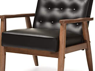 Black lounger Chair leather and Wood