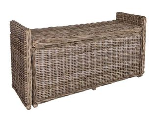 happimess Naples 47 50  Wicker Trunk Storage Bench  Gray  Retail 250 80