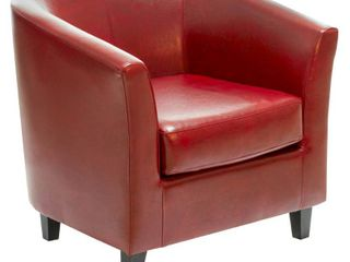 Oxblood Red Bonded leather Tub Club Chair by Christopher Knight Home   Retail 254 49