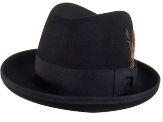 Godfather Gangster Feather Black Fedora Hat S M