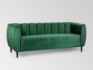 Bobran Modern Velvet 3 Seater Sofa by Christopher Knight Home   30 00  D x 83 25  W x 30 25  H  Retail 603 49