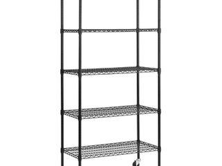 5 Shelf Black Wire Mobile Commercial Shelving Unit