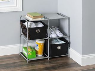 Home Basics Multi Purpose Free Standing 4 Cubed Organizing Storage Shelf  Grey Grey One Size