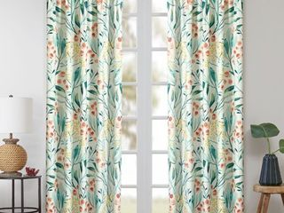Sunclipse Modern Floral Bybery Curtain Panel  set of 2