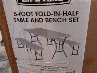 5 Foot Fold in half table and bench set