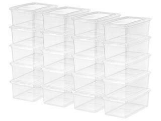Mainstays 5Qt Clear Women s Shoe Storage latch Box  20 Pack
