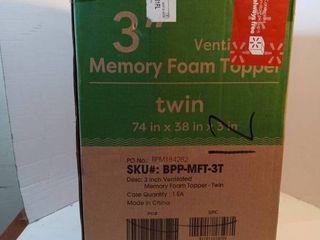 Best Price Mattress Twin Mattress Topper   3 Inch Memory Foam Bed Topper With
