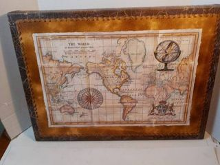 The World Map in Wood Frame