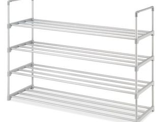 Whitmor 4 Tier Metal Shoe Rack   Gray   11 61  x 35 43  x 29 13