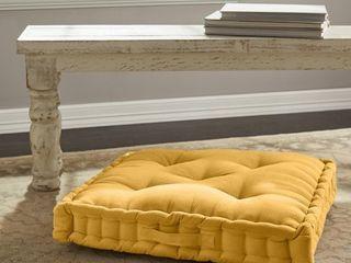 Better Homes   Gardens Corduroy Tufted Square Floor Cushion  Mustard Yellow