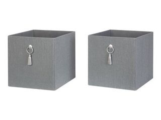 Better Homes  amp  Gardens Fabric Storage Bin with Tassel  2 Pack