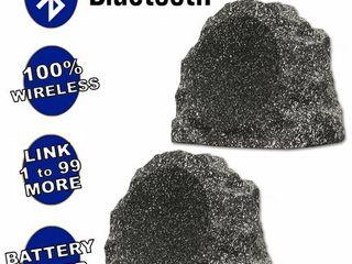 B81GG Fully Wireless 300 Watt Rechargeable Battery Bluetooth 8  Rock Speaker Pair Granite Grey
