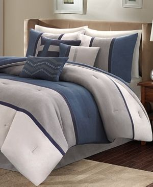 Blue Overland Microsuede Comforter Set Queen 7pc Homa