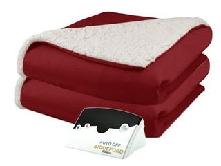 Biddeford Electric Heated Micro Mink and Sherpa Blanket  Red