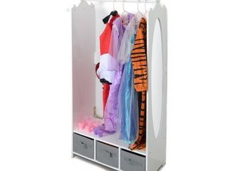 Milliard Dress Up Storage Kids Costume Organizer Center Open Hanging Armoire Closet Unit Furniture for Dramatic Play with Mirror Baskets and Hooks MIl DUPS A