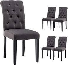 Set Of 2 Solid Wood Tufted Parsons Dining High Chair Upholstered Fabric Charcoal