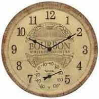 14  Bourbon Barrel Clock with Thermometer