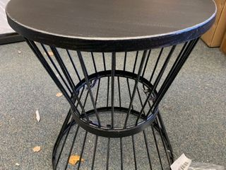 Black circular round side table
