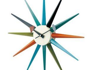 George Nelson Classic Wooden Sunburst Clock  Multi