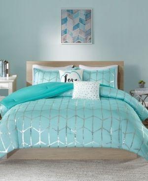Aqua Arielle Brushed Comforter Set  Twin Twin Xl  4pc