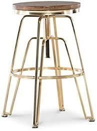 Aimes Wood and Metal Adjustable Stool   Retail 132 49 matte gold
