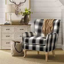 Avenue Greene Fremont Checkered Pattern Accent Chair  Retail 245 99 black and white checkered