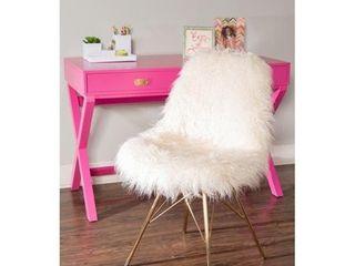 Rowan Faux Fur Chair with Gold Metal Base  Retail 192 49