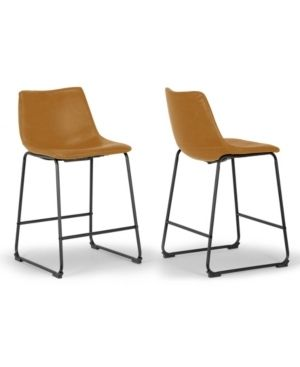 Set of 2 Adan Iron Frame Vintage Cappuccino Faux leather Counter Stool  Retail 143 99