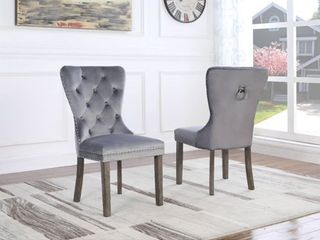 Best Quality Furniture Tufted Velvet Dining Chairs  Set of 2  Retail 359 99